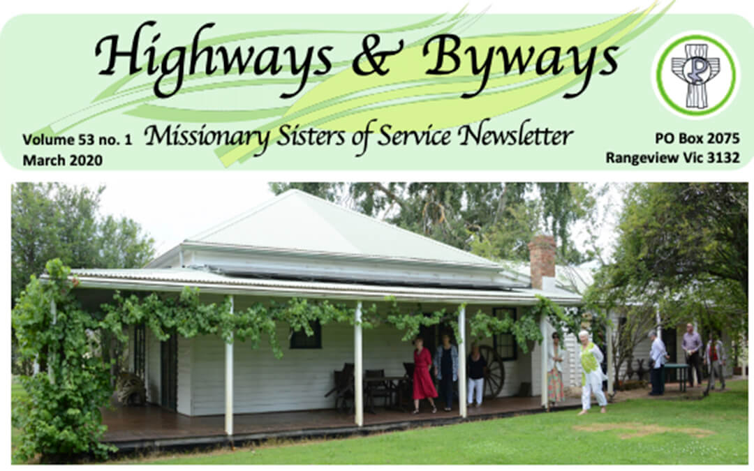 Highways and Byways newsletter title with photo of old country homestead with people walking on verandah
