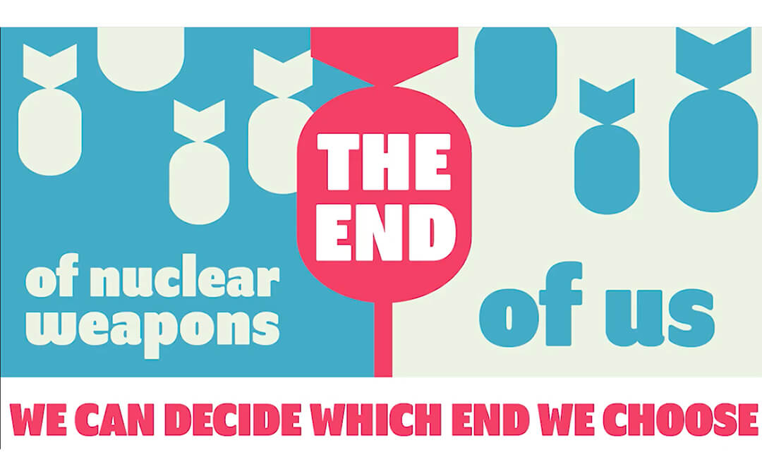 Text over icons of nuclear bombs