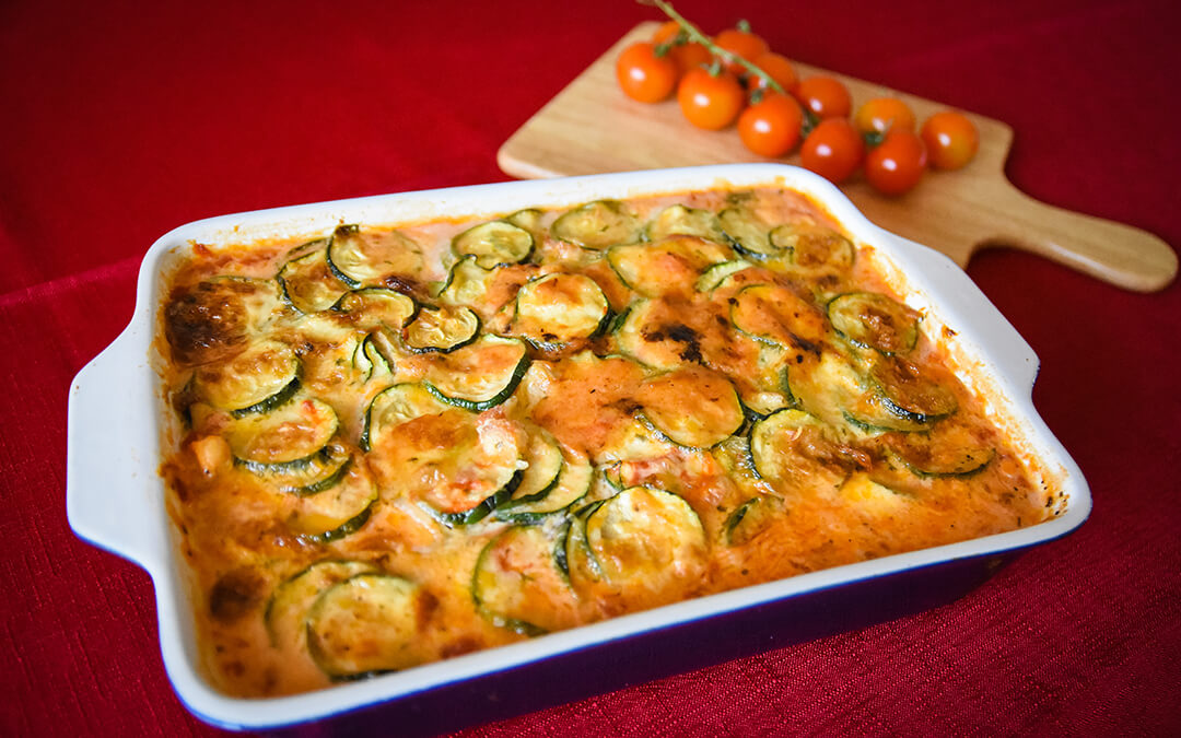chicken and vegetable casserole on table