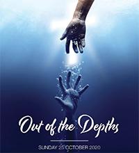 Hands reaching toward each other under ocean