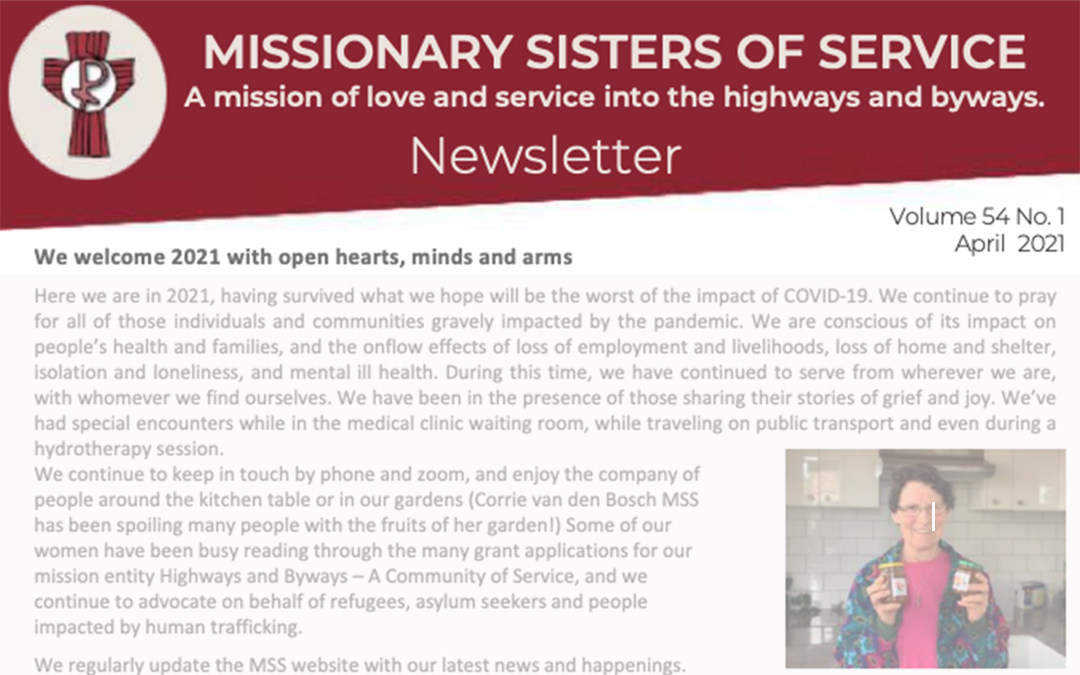 Missionary Sisters of Service April 2021 Newsletter banner