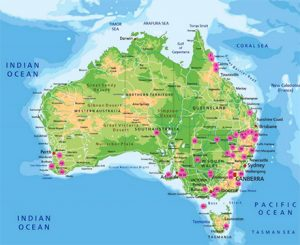 Map of Australia showing where projects are based